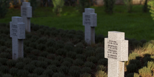 Crosses of killed german WWII soldiers are seen at the newly opened cemetary for German WWII soldiers, in the airforce military base in Podgorica, Montenegro, November 19, 2016. REUTERS/Stevo Vasiljevic
