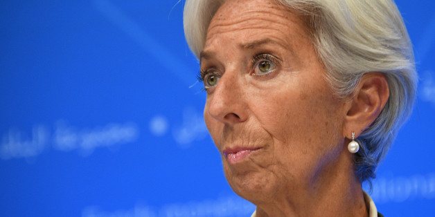 IMF Managing director Christine Lagarde looks on as she attends a press conference at the World Bank and International Monetary Fund annual meeting in Washington, DC, on October 14, 2017. / AFP PHOTO / JIM WATSON        (Photo credit should read JIM WATSON/AFP/Getty Images)