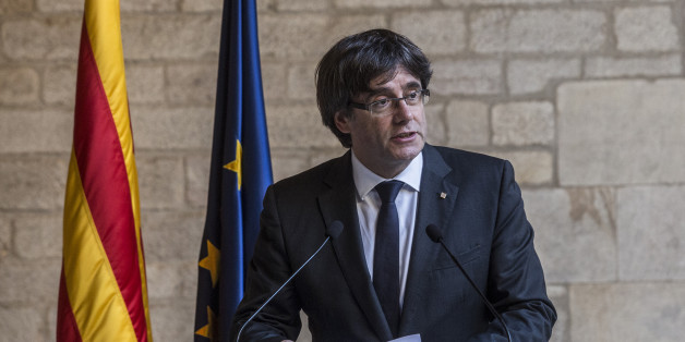 Carles Puigdemont, Catalonia's president, speaks during a news conference at the Generalitat in Barcelona, Spain, on Thursday, Oct. 26, 2017. Catalonia's president says he won't call a regional election that could have defused tension with Spain. Photographer: Angel Garcia/Bloomberg via Getty Images