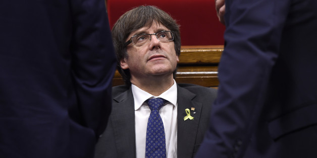 Catalan president Carles Puigdemont attends a session of the Catalan parliament in Barcelona on October 27, 2017. 