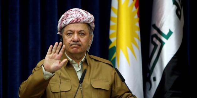 Iraq's Kurdistan region's President Massoud Barzani gestures during a joint news conference with German Foreign Minister Sigmar Gabriel (not pictured) in Erbil, Iraq April 20, 2017. REUTERS/Azad Lashkari