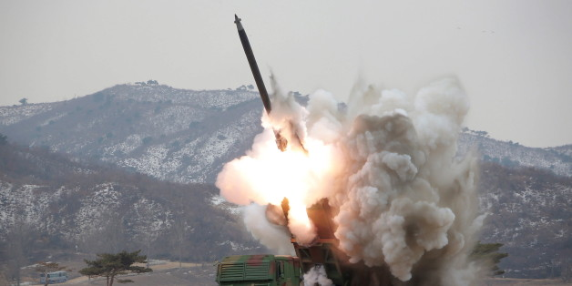 A new multiple launch rocket system is test fired in this undated photo released by North Korea's Korean Central News Agency (KCNA) in Pyongyang March 4, 2016.    REUTERS/KCNA ATTENTION EDITORS - THIS PICTURE WAS PROVIDED BY A THIRD PARTY. REUTERS IS UNABLE TO INDEPENDENTLY VERIFY THE AUTHENTICITY, CONTENT, LOCATION OR DATE OF THIS IMAGE. FOR EDITORIAL USE ONLY. NOT FOR SALE FOR MARKETING OR ADVERTISING CAMPAIGNS. THIS PICTURE IS DISTRIBUTED EXACTLY AS RECEIVED BY REUTERS, AS A SERVICE TO CLIENT