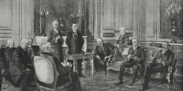 The French-English Council of Ministers meeting in Paris: from left, Admiral Lacaze, Asquith, De Margerie, Joffre, Balfour, Gallieni, George Lloyd, Lord Bertie, Sir Edward Gray, Aristide Briand, France, World War I, L'Illustrazione Italiana, Year XLII, No 49, December 5, 1915.