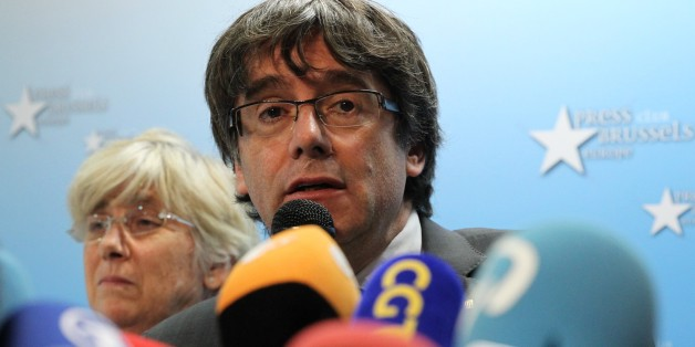 BRUSSELS, BELGIUM - OCTOBER 31: Carles Puigdemont, the dismissed president of Catalonia, holds a press conference in Brussels, Belgium on October 31, 2017. (Photo by Dursun Aydemir/Anadolu Agency/Getty Images)