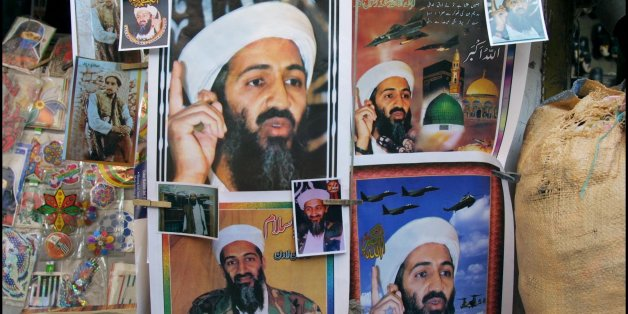 PAKISTAN - OCTOBER 04:  Posters Of Oussama Ben Laden On April 10Th, 2001, Pakistan.   (Photo by Patrick AVENTURIER/Gamma-Rapho via Getty Images)