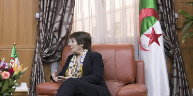 ALGER, ALGERIA - FEBRUARY 13: Former French Economy Minister, Founder and Leader of the political movement 'En Marche !' and candidate for the 2017 French Presidential Election Emmanuel Macron (L) meets Algerian Minister of National Education Nouria Benghabrit Remaoun (R) on February 13, 2017 in Alger, Algeria. Emmanuel Macron is traveling to Algeria on 13 and 14 February to meet ministers and politicians. (Photo by Soazig De La Moissonniere/IP3/Getty Images)