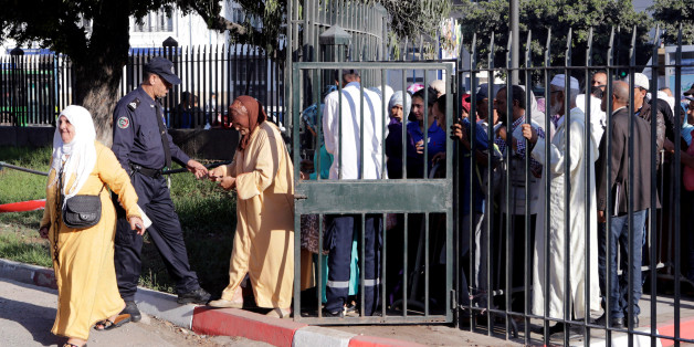 Moroccan police inspect relatives of the leaders of Morocco's Hirak protest movement, as they arrive to attend the trial in Casablanca, Morocco September 12, 2017. REUTERS/Youssef Boudlal