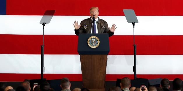 U.S. President Donald Trump addresses members of U.S. military services and Japan Self-Defense Force (JSDF) at U.S. Air Force Yokota Air Base in Fussa, on the outskirts of Tokyo, Japan, November 5, 2017. REUTERS/Toru Hanai