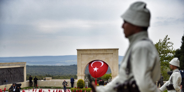 ECEABAD, TURKEY - APRIL 25: Mounted Turkish gendarmes dressed as World War I Ottoman Turkish soldiers stand guard at the Turkish 57th Regiment Memorial to mark the 100th anniversary of the Battle of Gallipoli on April 25, 2015 in Eceabat, Turkey. Turkish and Allied powers representatives, as well as family members of those who served, are commemorating the 100th anniversary of the Gallipoli campaign with ceremonies at memorials across the Gallipoli Peninsula. The Gallipoli land campaign, in whic