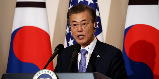 Moon Jae-in, South Korea's president, speaks during a news conference with U.S. President Donald Trump, not pictured, at the presidential Blue House in Seoul, South Korea, on Tuesday, Nov. 7, 2017. Trump said that North Korea should come to the table and make a deal on its missile and nuclear programs. Photographer: SeongJoon Cho/Bloomberg via Getty Images