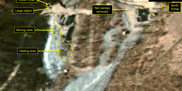PUNGGYE-RI NUCLEAR TEST SITE, NORTH KOREA - NOVEMBER 1, 2017.  Figure 5.  While no new spoil has been added near the West Portal, the presence and movement mining carts and equipment have significantly increased.  (Photo DigitalGlobe/38 North via Getty Images)