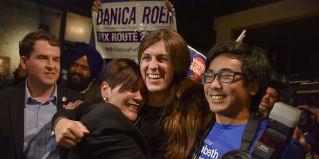 Erste offen transsexuelle Abgeordnete in den USA Danica Roem vor ihrer Siegesrede in Virginia