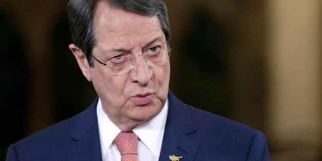 Cypriot President Nicos Anastasiades talks during a nationally televised news conference at the Presidential Palace in Nicosia, Cyprus May 22, 2017. REUTERS/Petros Karadjias/Pool