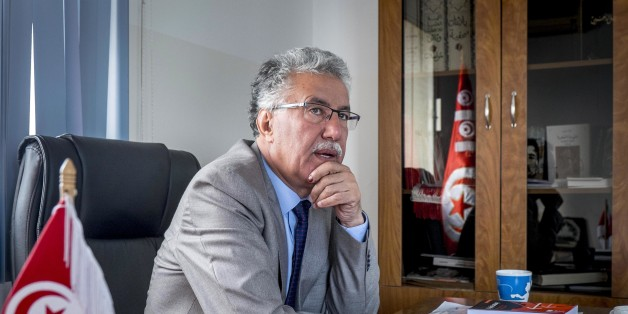In October 31st, 2014: portrait of Hamma Hammami in his office of the party of the Popular Front after the general election. The polarization of the Tunisian political life between Nida Tounes and Ennahdha should not hide the 3rd place that Hamma Hammami in the Tunisian political scene occupies now. Hamma Hammami is candidate in the presidential election of November 23rd, 2014. (Photo by Nicolas Fauqu��/Corbis via Getty Images)