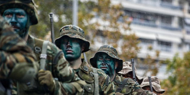 THESSALONIKI, GREECE - 2017/10/28: Greek special unit seen during the military parade.Military Parade for the celebration of WWII National Anniversary of '28th October 1940'. (Photo by Giorgos Zachos/SOPA Images/LightRocket via Getty Images)