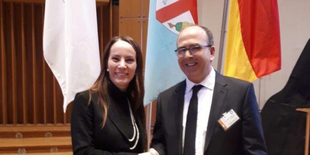 Le président de la Chambre des conseillers, Hakim Benchamas, et la présidente de l'Union interparlementaire (UIP), Gabriela Cuevas Barron.