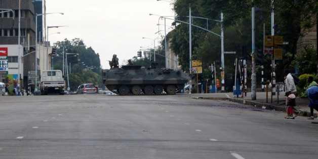 HARARE, ZIMBABWE - NOVEMBER 15 : A tank seals off a main road to the Zimbabwe high court within the military activities taking place in Harare, Zimbabwe on November 15, 2017. President Robert Mugabe and his family have been detained following military intervention in capital Harare, which an army spokesman and the ruling party insisted Wednesday was not a coup. Military officers appeared on television early Wednesday to make a statement saying they were targeting criminals around President Robert Mugabe.