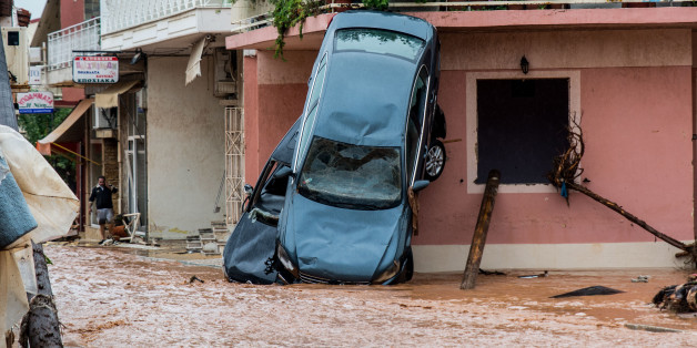 Floods in the town of Mandra, northwest of Athens, Attica, Greece on November 15, 2017, after heavy overnight rainfall in the area caused damage and left 15 people dead (Photo by Dimitris Lampropoulos/NurPhoto via Getty Images)