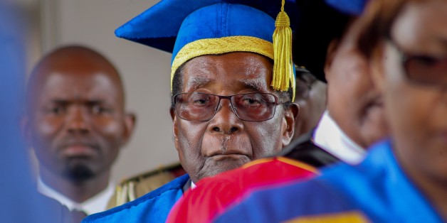 HARARE, ZIMBABWE - NOVEMBER 17:  Zimbabwe's President Robert Mugabe appeares in public in capital Harare for the first time since the military moved against him, on November 17, 2017 in Harare, Zimbabwe. Mugabe was spotted at a graduation ceremony at the Zimbabwe Open University. (Photo by Tafadzwa Ufumeli/Anadolu Agency/Getty Images)