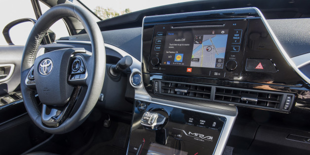 The interior of Toyota Motor Corp Mirai fuel-cell sedan is seen during a test drive event in San Francisco, California, U.S., on Friday, Nov. 13, 2015. The Mirai, which means future in Japanese, is an electric vehicle that uses hydrogen fuel-cell technology to charge its battery and will retail for $57,500 before incentives. Photographer: David Paul Morris/Bloomberg via Getty Images