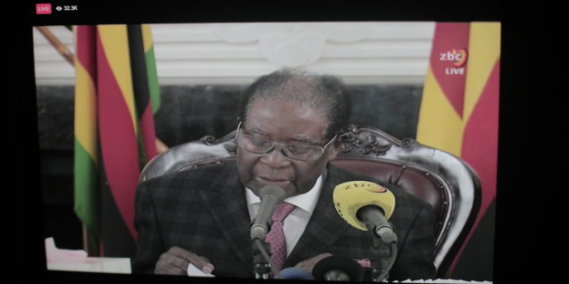 Breaking News: Zimbabwean President Mugabe, in a Speech to Zimbabwe people on TV, says he will remain president and refuse to relinquish the presidency.  (Photo by Belal Khaled/NurPhoto via Getty Images)