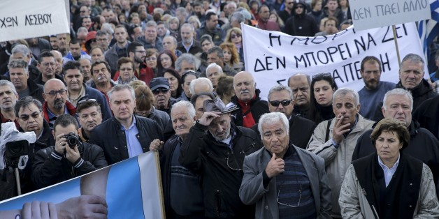 LESBOS ISLAND, GREECE - NOVEMBER 20: Workers and other civilians stage a protest, organized to show their reaction to European Union and to the government on increase in the population of refugees in the island in Lesbos Island, Greece on November 20, 2017. (Photo by Ayhan Mehmet/Anadolu Agency/Getty Images)