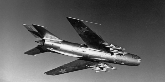 A soviet mikoyan-gurevich mig-19 'farmer' jet fighter in flight, 1960s. (Photo by: Sovfoto/UIG via Getty Images)