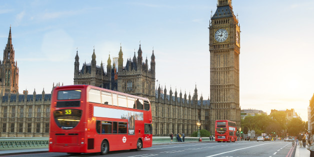 London, United Kingdom - August 20, 2016: Westminster palace and Big Ben and traffic on Westminster bridge in foreground