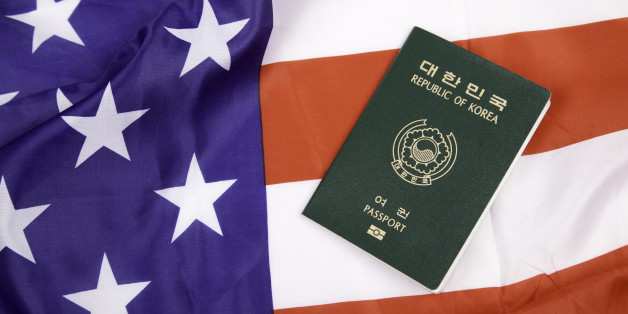 South Korean passport with American flag