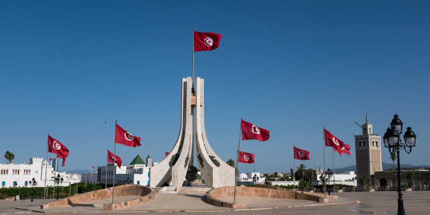 A view of the Tunisian flag from the center of the Kasbah square in Tunis, Tunisia, on 17 septembre, 2017. (Photo by Emeric Fohlen/NurPhoto via Getty Images)