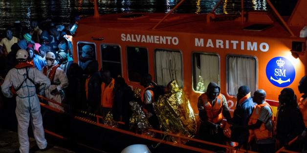 At the harbour of Malaga, South of Spain, a Spanish rescued boat, with migrants onboard. On 11 November 2017 in Malaga, Spain. On saturday night, the Port authority from Malaga, with the help of the Red Cross, provide a first help to more than 160 migrants, who had just been rescued in the Mediterranean sea by three vessels from the Spanish Maritine. This is one oh the highest record of arrival in the city of Malaga. All the migrants were in good condition, only a few of them were brought to the hospital. (Photo by Guillaume Pinon/NurPhoto via Getty Images)