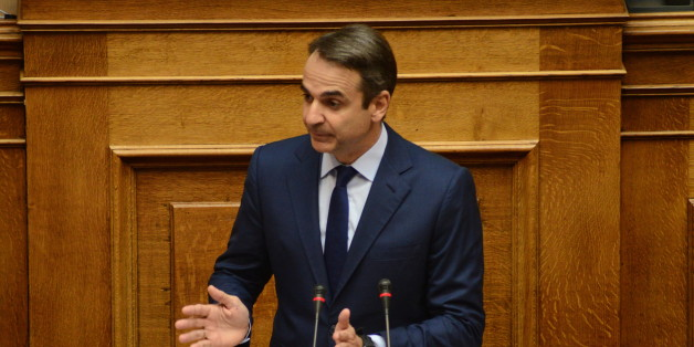 HELLENIC PARLIAMENT, ATHENS, ATTIKI, GREECE - 2017/11/03: Kyriakos Mitsotakis leader of the main opposition and President of New Democracy party, during his speech in Hellenic Parliament. (Photo by Dimitrios Karvountzis/Pacific Press/LightRocket via Getty Images)