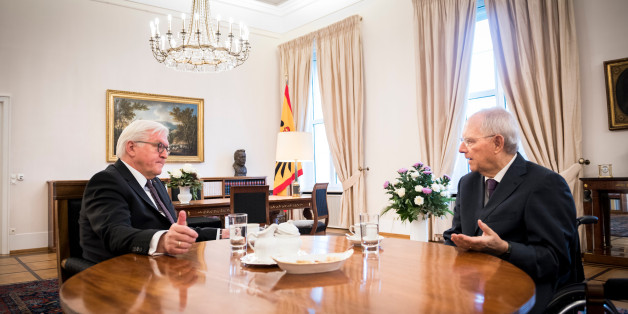 BERLIN, GERMANY - NOVEMBER 23: In this handout photo provided by the German Government Press Office (BPA), German President Frank-Walter Steinmeier (L) meets President of Germany's Bundestag Wolfgang Schauble (R) in his office over the future of the next German government at Schloss Bellevue presidential palace on November 23, 2017 in Berlin, Germany. Following German federal elections last September Martin Schulz, Chairman of the German Social Democrats (SPD) had vowed that the SPD would not join the Christian Democrats (CDU/CSU) in another grand coalition, though the recent failure of coalition talks between the CDU/CSU, the Greens Party and the Free Democrats (FDP) is leading to increasing pressure, both from within the SPD and without, on Schulz to reconsider.  (Photo by Steffen Kugler/Bundesregierung via Getty Images)