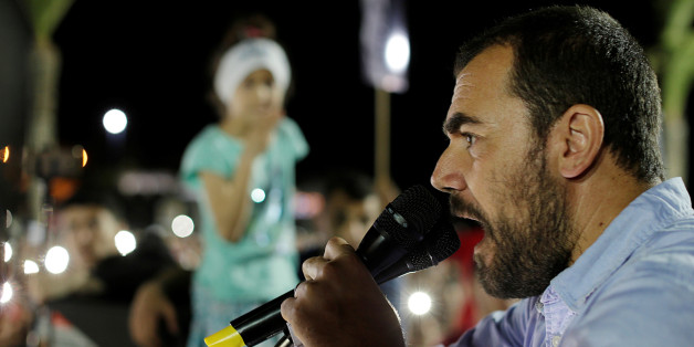 "Moroccan activist and the leader of ""Hirak"" Nasser Zefzafi gives a speech during a demonstration against injustice and corruption in the northern town of Al-Hoceima, Morocco, May 18, 2017. REUTERS/Youssef Boudlal"