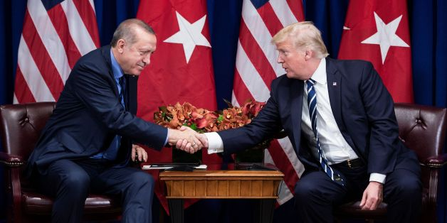 Turkey's President Recep Tayyip Erdogan and US President Donald Trump shake hands before a meeting at the Palace Hotel during the 72nd United Nations General Assembly on September 21, 2017 in New York City. / AFP PHOTO / Brendan Smialowski        (Photo credit should read BRENDAN SMIALOWSKI/AFP/Getty Images)