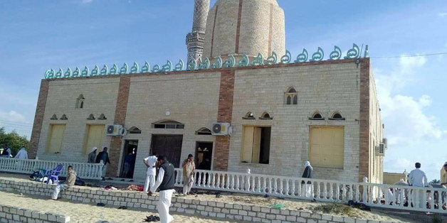 View of the Rawda mosque, roughly 40 kilometres west of the North Sinai capital of El-Arish, after a gun and bombing attack, on November 24, 2017.