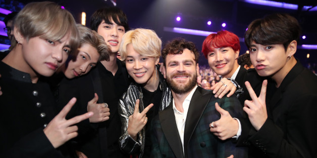 LOS ANGELES, CA - NOVEMBER 19: Members of BTS and Alex Pall during the 2017 American Music Awards at Microsoft Theater on November 19, 2017 in Los Angeles, California.  (Photo by Chris Polk/AMA2017/Getty Images for dcp)