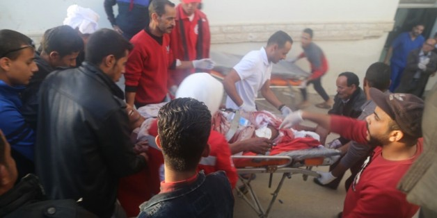 AL ARISH, EGYPT - NOVEMBER 24:  Woundeds are taken to the hospital after the Egypt Sinai mosque bombing in Al-Arish, Egypt on November 24, 2017. The death toll from a bomb that went off outside a mosque in the city of Al-Arish in the northern Sinai Peninsula following Friday prayers has climbed to a whopping 235, according to official sources. At least 109 others were injured in the blast, which occurred in the citys Al-Rawda neighborhood.  (Photo by Stringer/Anadolu Agency/Getty Images)