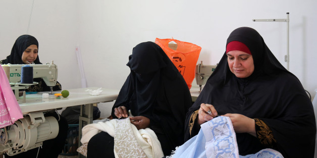 Palestinian women embroider at a workshop in Jordan's Jerash Palestinian refugee camp, which was established to host more than 11,000 Palestinians who fled the Gaza Strip during the 1967 Arab-Israeli war, north of Amman on November 5, 2017.Half a century on, more than 29,000 refugees live in the camp amid poverty, unemployment and crumbling infrastructure.In 2013, Roberta Ventura, an Italian with a background in investment banking, decided to set up a social project to help women in the camp pro