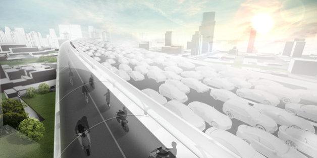 Tunnelblick: Mit Hilfe eines röhrenförmigen Highways will BMW den Verkehr in Städten revolutionieren