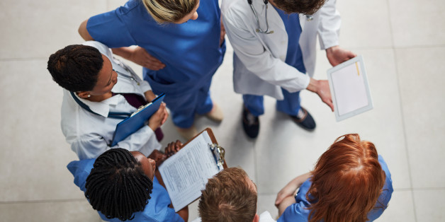 High angle shot of a group of medical practitioners working together in a hospital