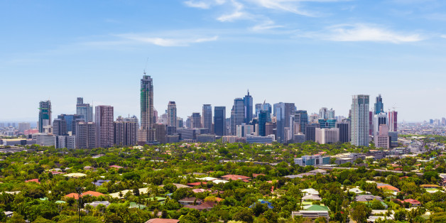 Aerial view of Makati city - Modern financial and business district of Metro Manila, Philippines.