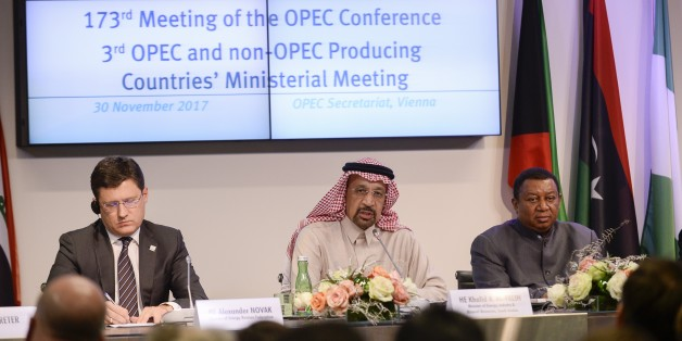 VIENNA, AUSTRIA - NOVEMBER 30: Secretary General of OPEC, Mohammed Barkindo (R), Russia Energy Minister Alexander Novak (L), Saudi Arabia's Minister of Energy, Industry and Mineral Resources, Khalid Al-Falih (C) hold a joint press conference during the 173rd Ordinary Meeting of the Organisation of Petroleum Exporting Countries (OPEC) in Vienna, Austria on November 30, 2017. (Photo by Omar Marques/Anadolu Agency/Getty Images)