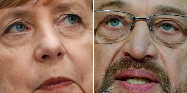 (COMBO) - This combination created on December 1, 2017 of file pictures shows German Chancellor Angela Merkel (L, September 25, 2017 in Berlin) and Martin Schulz, leader of Germany's social democrat SPD party (November 27, 2017 in Berlin).Chancellor Angela Merkel held talks on November 30, 2017 with Social Democrat chief Martin Schulz hoping to end Germany's political stalemate, but the atmosphere has already been poisoned by disobedience within her ranks. / AFP PHOTO / Odd ANDERSEN AND Tobias S