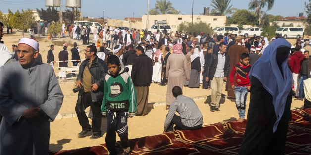 AL ARISH, EGYPT - DECEMBER 1 :  People attend the Friday prayers, at al-Rawda mosque at Bir al-Abd town near Arish, 400km northeast of Cairo, Egypt, 01 December 2017. (Photo by Stringer/Anadolu Agency/Getty Images)
