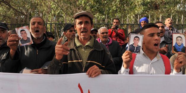 Manifestation le 27 novembre 2017 des familles des migrants détenus en Libye pour exiger leur rapatriement au Maroc.