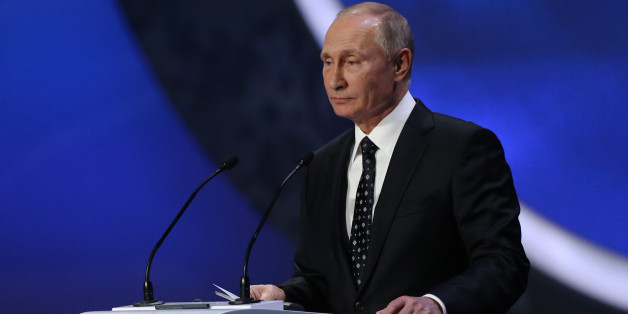 Russia's President Vladimir Putin speaks to the audience before the Final Draw for the 2018 FIFA World Cup at the State Kremlin Palace on December 01, 2017 in Moscow, Russia. (Photo by Igor Russak/NurPhoto via Getty Images)