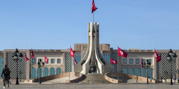 Tunis, Tunisia - December 27, 2016: Public square of Tunis, national monument and city hall, Tunisia.