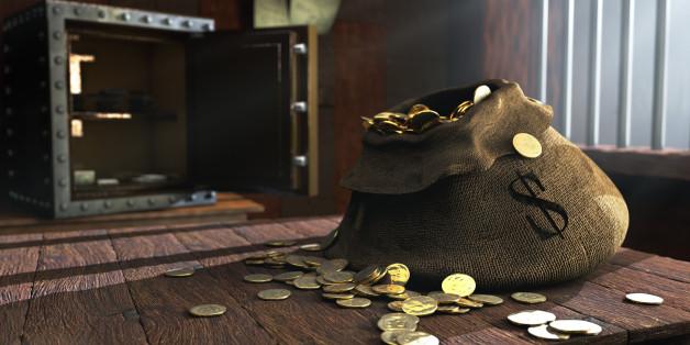 3D illustration of canvas bag full of money