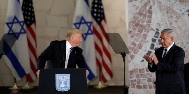 U.S. President Donald Trump (L), talks on a podium near Israeli Prime Minister Benjamin Netanyahu at the Israel Museum in Jerusalem May 23, 2017. REUTERS/Ronen Zvulun